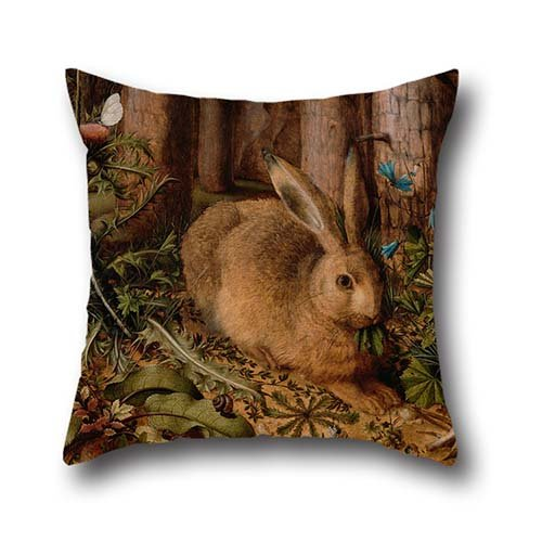 throw-cushion-covers-of-oil-painting-hans-hoffmann-german-a-hare-in-the-forest-16-x-16-inch-40-by-40