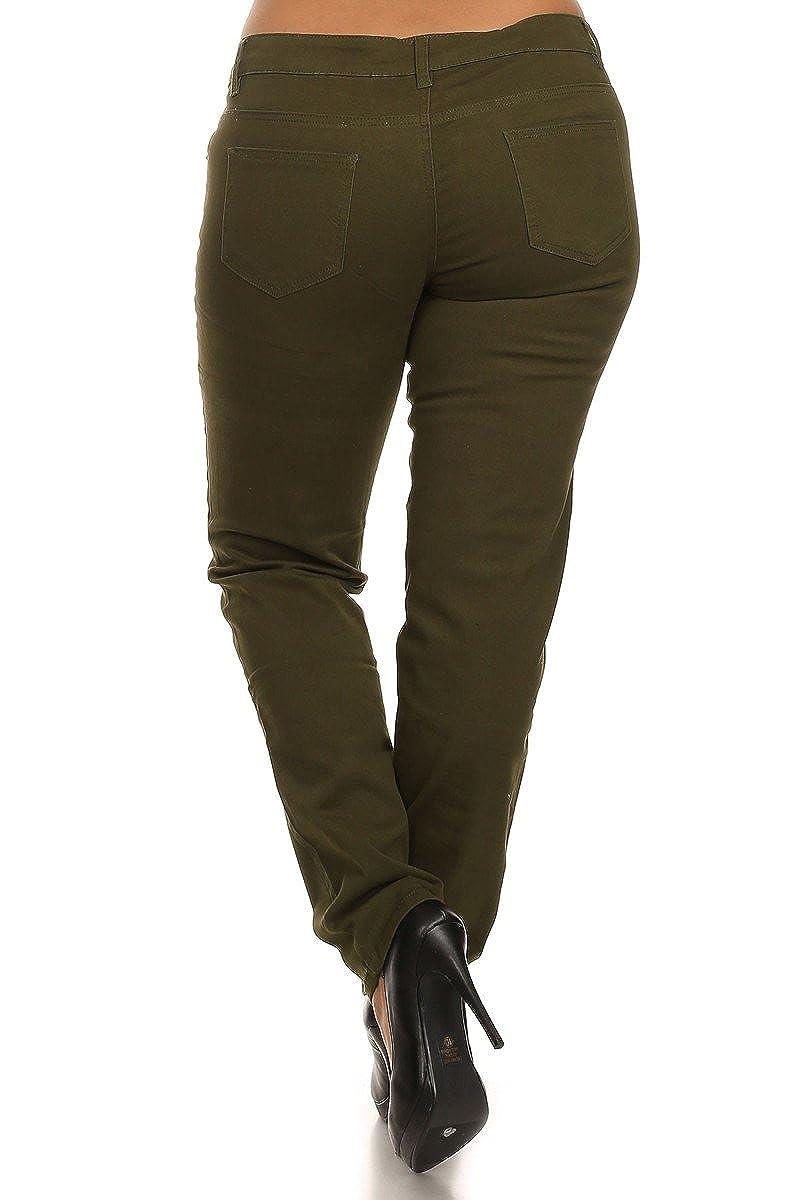 GENx Womens Plus Size Basic Comfy Loose Skinny Twill Pants NSPB