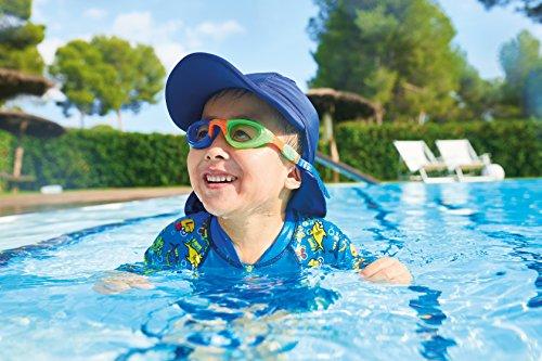 Zoggs Kids Little Super Seal Lunettes de natation à réglage rapide et protection UV (jusquà 6) Bleu/Orange/Vert/Clear