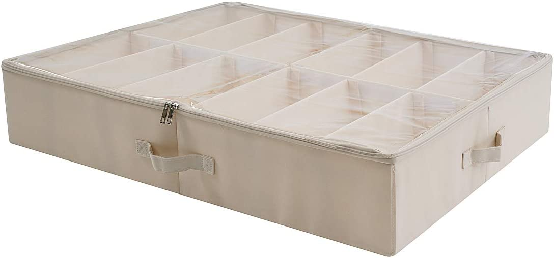 AMX Underbed Shoes Storage Solution - Collapsible with Sturdy Board Dividers, Stackable Shoe Box Storage with Zip Clear Plastic Lids, Beige