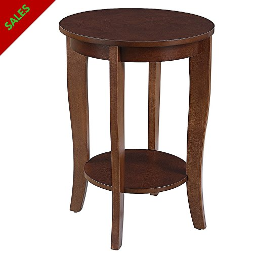 TSR Bedside End Table for Small Spaces Classic Design for Living Room, Bedroom, Nursery Room and Office Guest Room Assembly Required Finish Brown and E- Book ()