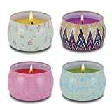PITAYA Scented Candles Gift Set, Lavender Rose Mint Gardenia 100% Soy Wax for Stress Relief and Aromatherapy Travel Jar Candles Gift - 4 Pack