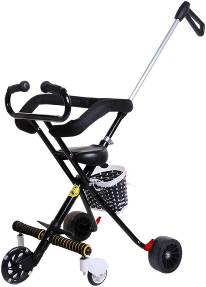 Carro plegable del bebé, triciclo de los niños 1-3-6 años de edad con sistema de seguridad y multi-posición reclinable asiento extendido Canopy fácil una mano pliegue cesta de almacenamiento grande