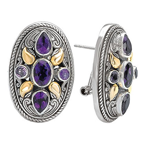 925 Silver & Amethyst Oval Filigree Earrings with 18k Gold Accents