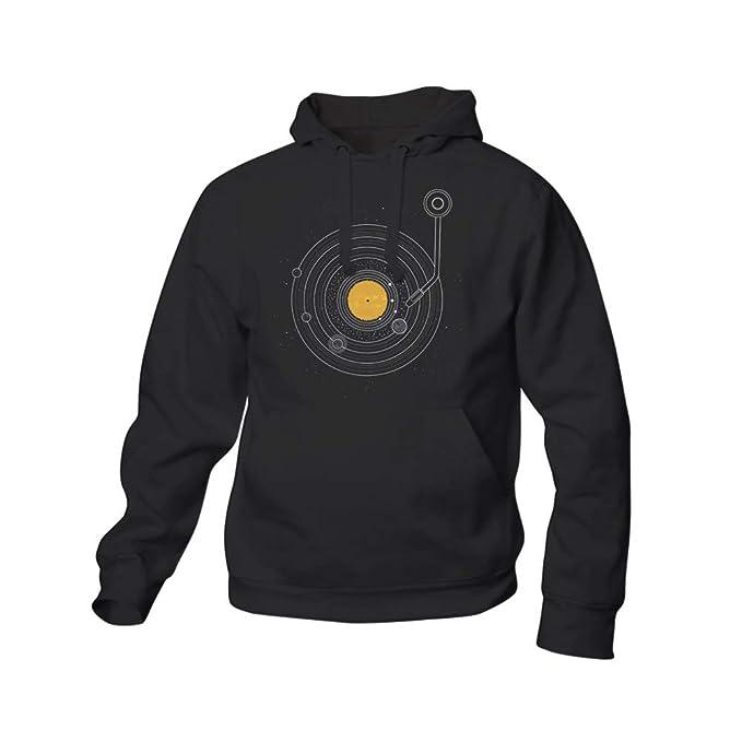 Sudadera Cosmic Symphony - Tocadiscos - Vinilo - Espacio - Color Negro - Serigrafía: Amazon.es: Ropa y accesorios
