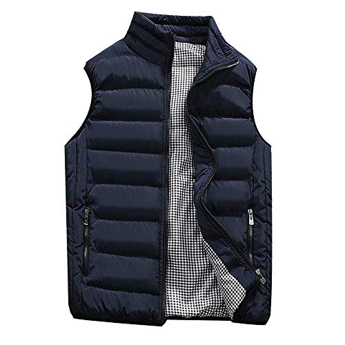 LISTHA Padded Cotton Vest Mens Winter Hooded Coat Sleeveless Jacket Thick Warm Dark Blue ()