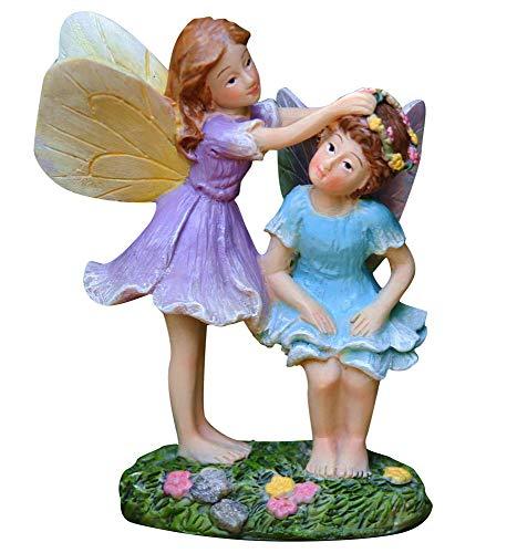 LA JOLIE MUSE Miniature Fairy Garden Sisters 4 inch, Hand Painted Resin Figurines, for Garden Indoor Decor Gift