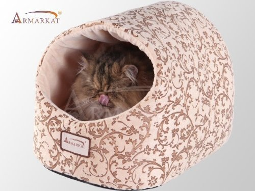 Whites & Tans Armarkat Cat Bed with Flower Pattern, Beige