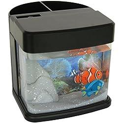 Lightahead Pen Pencil Holder stand Mini Artificial Aquarium with Color LED 2 Swimming Fish Tank