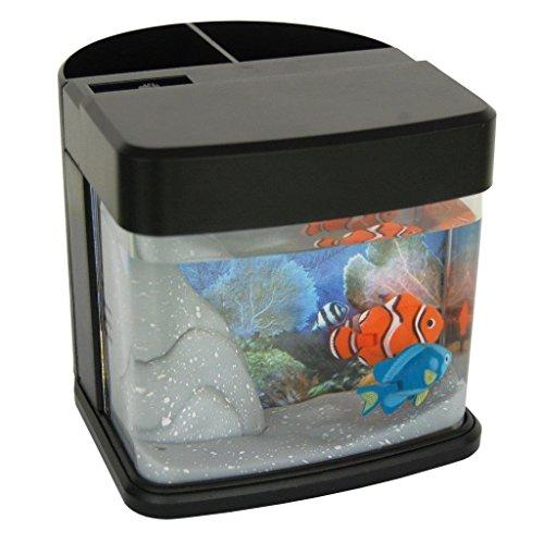Lightahead Pen Pencil Holder stand Mini Artificial Aquarium with Color LED 2 Swimming Fish Tank -