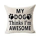 Pillow Case,Bokeley Cotton Linen Square Best Dog Lover Gifts Letter Print Decorative Throw Pillow Case Bed Home Decor Cushion Cover (B)