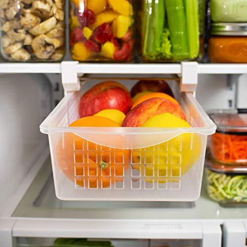 Refrigerator Shelf Bin - Fridge Organizer Drawer, Refrigerator Organizer Bin | Adjustable, Installs Under Shelf, Fits Most Fridges, Clear Plastic (Medium)