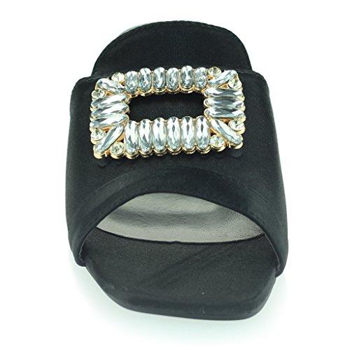 Mujer Señoras Broche Detalle Diamante Ponerse Tacón de Bloque Noche Casual Fiesta Sandalias Zapatos Tamaño Negro