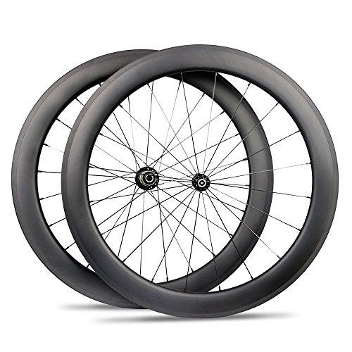Yuanan 60mm Depth Carbon Bicycle Wheel Clincher Tubular Tubeless Wheelset For 700C road Bike Cycling