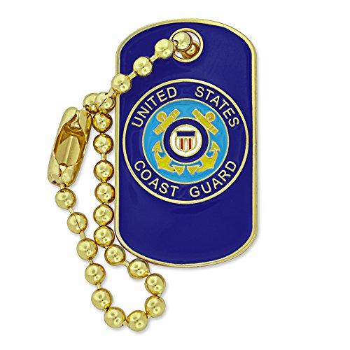 PinMart Military U.S. Coast Guard Dog Tag Key Chain Enamel Lapel Pin