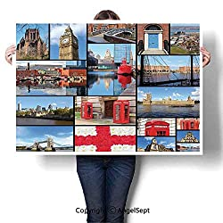 Waterproof Paintings Artwork Simple Modern,England City Red Telephone Booth Clock Tower Bridge River British Flag with Flowers Blue Red,W48 xL32,Home Decor Wall Art