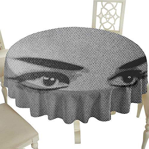Cranekey Striped Round Tablecloth 60 Inch Eyelash,Female Eyes Dramatic Looking Woman on Denim Texture Image Monochrome Grunge Display Grey Black Perfect for Spring,Summer,Farmhouse Décor,& More - Striped Eyelash