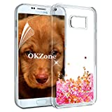 OKZone Galaxy S7 Edge Case Glitter [with HD Screen Protector], Luxury Fashioin Flowing Liquid Sparkly 3D Glitter Design TPU Gel Silicone Protective Cover For Samsung Galaxy S7 Edge(Red Star)