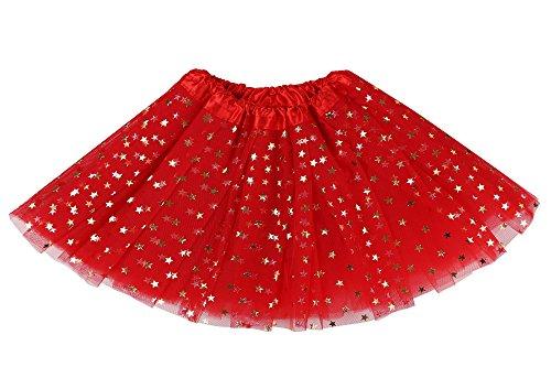 Lullaby Fluffy 4 Layered Girls Tutu Skirt Princess Ballet Stars Sequins Tutu