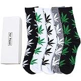 TTD 5 paquetes unisex hoja de hierba impresa calcetines de algodón de hoja de arce impreso calcetines con caja de…