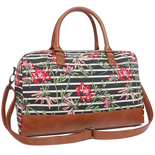 Oflamn Women Canvas Travel Weekender Overnight Carry-on Shoulder Duffel Tote Bag With PU Leather Strap (Striped Floral)