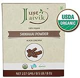 Just Jaivik 100% Organic Shikakai Powder - Certified Organic by OneCert Asia , 227 gms / 1/2 LB Pound / 08 Oz - Acacia Concina - (AN USDA Organic Herb)