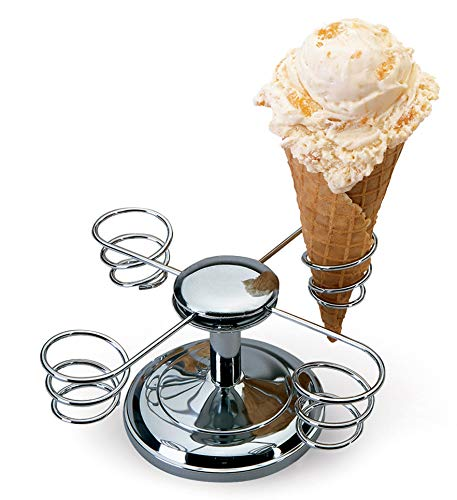 Chef'sChoice 8385000 838CH Ice Cream Four Holder with Weighted Base and Rotating Arms is Perfect for Supporting and Maintaining The Shape of Freshly Made Cones, 4, Silver