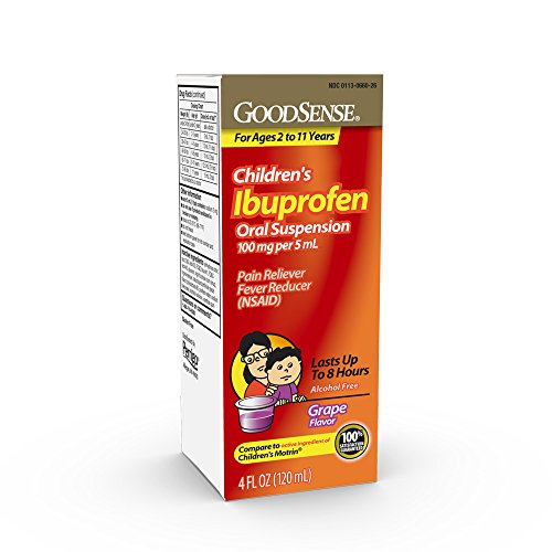 GoodSense Children's Ibuprofen Oral Suspension, 100 mg per 5 mL, Pain Reliever and Fever Reducer, Temporarily Reduces Fever and Provides Temporary Relief of Minor Aches and Pains, Grape Flavor