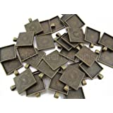 """20 CleverDelights Square Pendant Trays - Antique Bronze Color - 1 Inch - 25mm - Pendant Blanks Cameo Bezel Settings Photo Jewelry - Custom Jewelry Making - 1"""""""