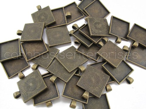 20 CleverDelights Square Pendant Trays - Antique Bronze Color - 1 Inch - 25mm - Pendant Blanks Cameo Bezel Settings Photo Jewelry - Custom Jewelry Making - 1
