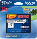 Brother P-touch ~1/2-Inch Standard Laminated Tape, Black on White, 26.2-Feet (2 Pack)