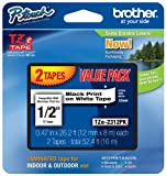 Brother TZE2312PK 1/2-inch Standard Laminated P-Touch Tape, Black on White, 26.2 Feet (2-Pack)