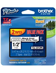 Brother TZE2312PK 1/2-inch Standard Laminated P-Touch Tape, B...