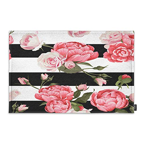 (Moslion Floral Doormat Pink Peony and Rose Flower Green Leaves on Black White Stripes Indoor Door Mat for Entrance Way Inside Bedroom Kitchen Non Slip Mat 15.7x23.6)