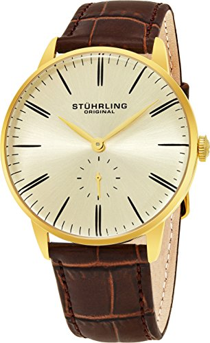 Stuhrling Original Mens Dress Watch  Leather Strap  Vintage Pie Pan Dial With Seconds Sub Dial  Stainless Steel Analog Japanese Quartz Watch  849 Series  Gold
