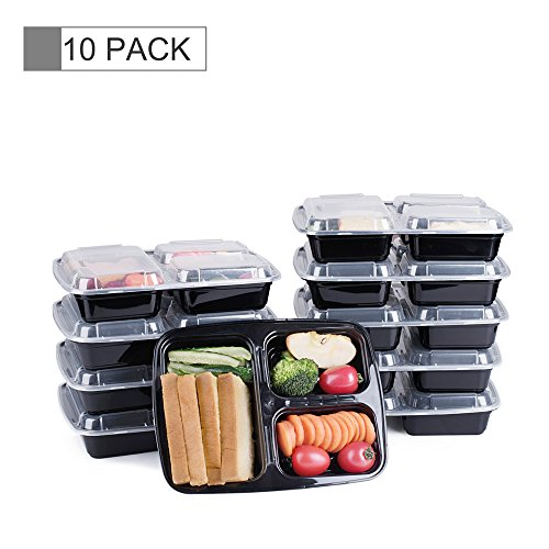 Glotoch 10 Pack of 39 Ounce BPA-Free Disposable Lunch Boxes & Meal Prep Containers with Lids, 3 Compartment Food Storage Containers, Microwaveable, Freezer & Dishwasher Safe