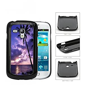 Beach Sunset Scenery With Palm Tree Silhouette Hard Plastic Snap On Cell Phone Case Samsung Galaxy S3 SIII Mini I8200