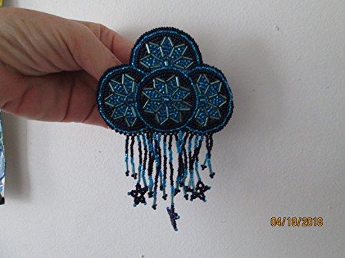 - Hand beaded purple blue disc medallion with stars starburst bugle bead flower Guatemalan Fair trade design hair clip barrette glass seed beads regalia pow wow Guatemala Native American style