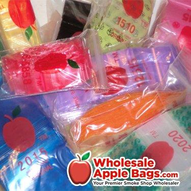 1034 Apple Mini Ziplock Baggies Asst'd Colors (10 PACKS) 1000 Bags