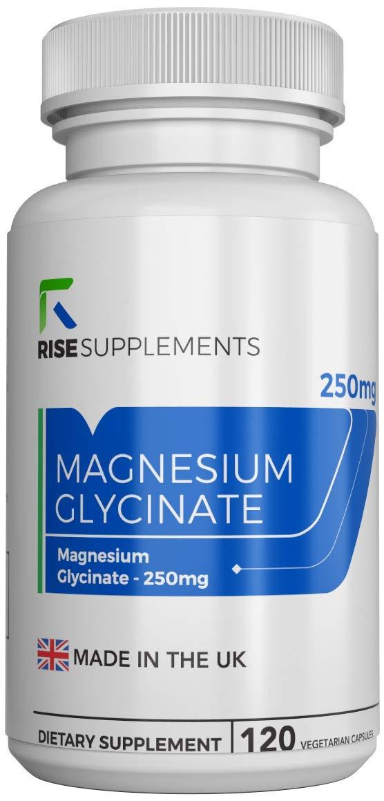 Glicinato de Magnesio - 250 mg - 120 Cápsulas Vegetarianas - Fabricado en UK en Instalaciones con Licencia ISO - Reembolso Garantizado (1 Botella): ...