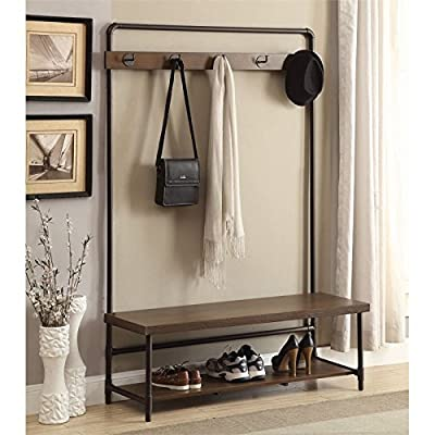BOWERY HILL 5 Hook Metal Hall Tree in Chestnut and Dark Bronze - Finish: Chestnut and Dark Bronze Material: PVC, Particle Board, and Metal Comes with 5 coat hooks and a bench with storage shelf - hall-trees, entryway-furniture-decor, entryway-laundry-room - 51ExPmYvkRL. SS400  -