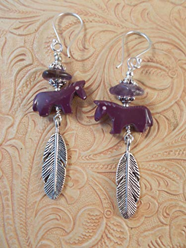Western Rodeo Cowgirl Earrings - Carved Purple Howlite Horse Fetish Beads with Amethyst- Southwest Style