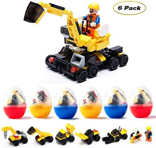 Flyglobal 6 PCS Filled Easter Eggs with Building Blocks Toys Inside Prefilled Egg for Kids to Build Different Kinds of Construction Vehicles as Party Supplies,Easter Basket Stuffers Gift for Kids Boys