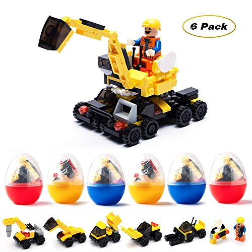Flyglobal 6 PCS Filled Easter Eggs with Building Blocks Toys Inside Prefilled Egg for Kids to Build Different Kinds of Construction Vehicles as Party Supplies,Easter Basket Stuffers Gift for Kids -