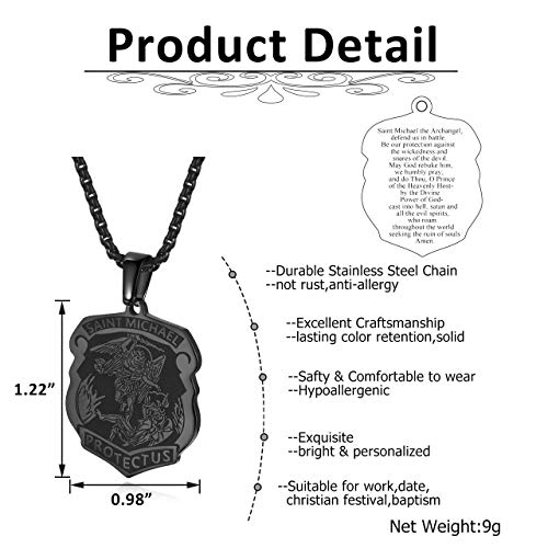 Sunligoo Mens 24 Inches Stainless Steel Dog Tag Pendant Necklace Saint Michael Archangel Medal Shield Pendant Necklaces