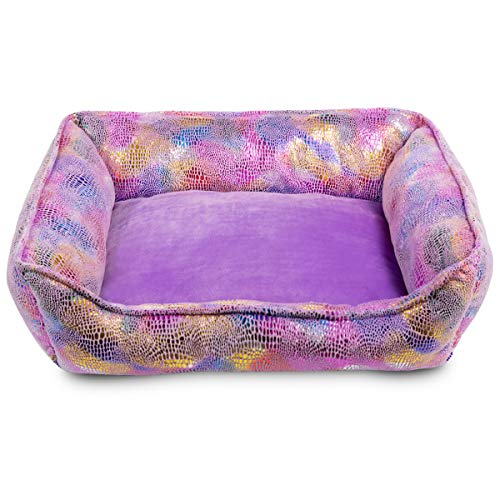 Hollypet Self-Warming Pet Bed Small Medium Dog Cat Plush Rectangle Nest Puppy Sleeping Bag, Purple