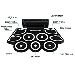 OCDAY 9 Pad Portable Electronic Drum Set Portable Drum Practice Pad Silicon Roll Up Electronic Drums Pad Kit with Speaker, Sticks and Sustain Foot Pedal for Beginners and Children by OCDAY