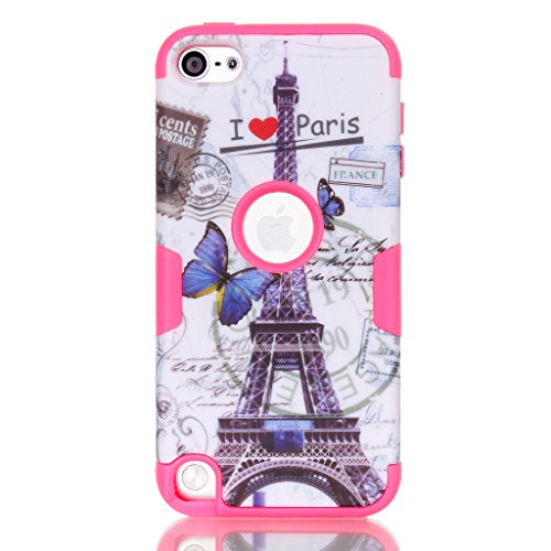 For iPod Touch 5,Touch 5 Case For Girls,Touch 5 Case Cover,Candywe Beautiful Design Hybrid Hard Back Case Cover For iPod Touch 5 Rose