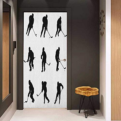 Door Sticker Hockey Collection of Player Silhouettes in Black and White Different Positions with Sticks Glass Film for Home Office W30 x H80 Black White (Best Player In Skyrim)