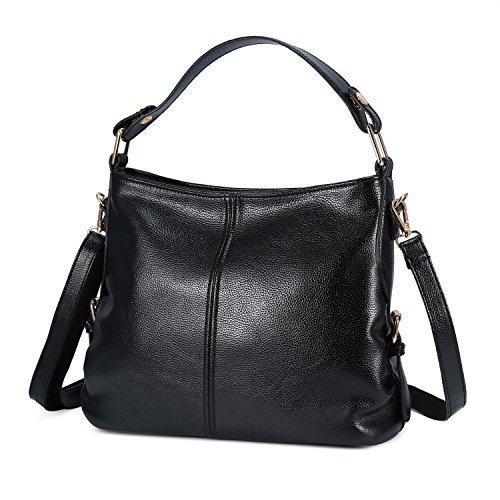 Genold Women's Leather Handbag Top Handle Purse for Ladies Crossbody Hobo Bag Shoulder Tote Black by Genold